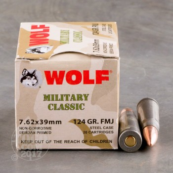 Image of 1000rds - 7.62x39 WPA Military Classic 124gr. FMJ Ammo