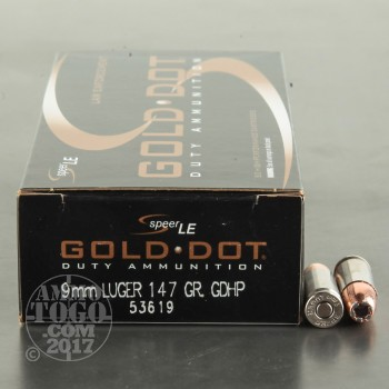 Image of 1000rds - 9mm Speer LE Gold Dot 147gr. HP Ammo