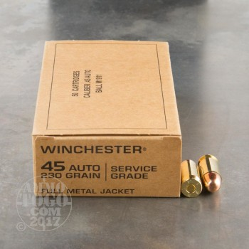 Image of 500rds – 45 ACP Winchester Service Grade 230gr. FMJ Ammo