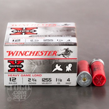 "Image of 250rds - 12 Gauge Winchester Super-X Heavy Game 2 3/4"" 1 1/8oz. #4 Shot Ammo"