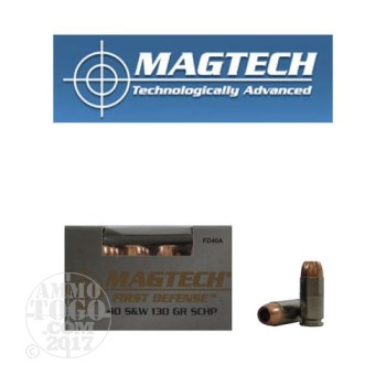 Image of 20rds - 40 S&W Magtech 130gr. First Defense Solid Copper HP Ammo