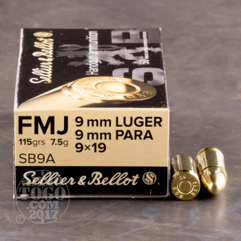 Image of 1000rds - 9mm Sellier & Bellot 115gr. FMJ Ammo