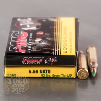 Image of 1000rds - 5.56 NATO PMC X-TAC 62gr. Green Tip Penetrator Ammo