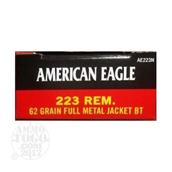 Image of  500rds – 223 Federal American Eagle 62gr. FMJ-BT Ammo