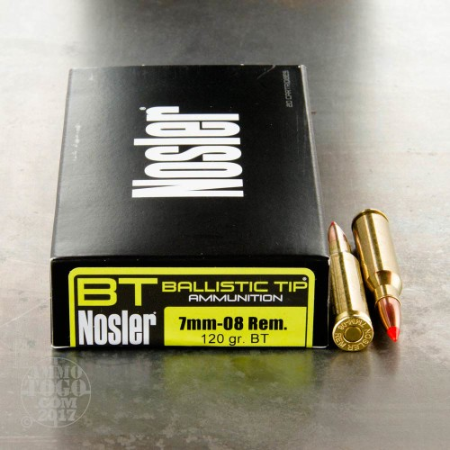 7mm 08 remington ammo 20 rounds of 120 grain nosler ballistic tip by nosler ammunition. Black Bedroom Furniture Sets. Home Design Ideas