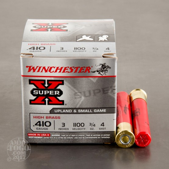 "25rds - 410 Gauge Winchester Super-X High Brass 3"" Max Dram 3/4oz. #4 Shot Ammo"