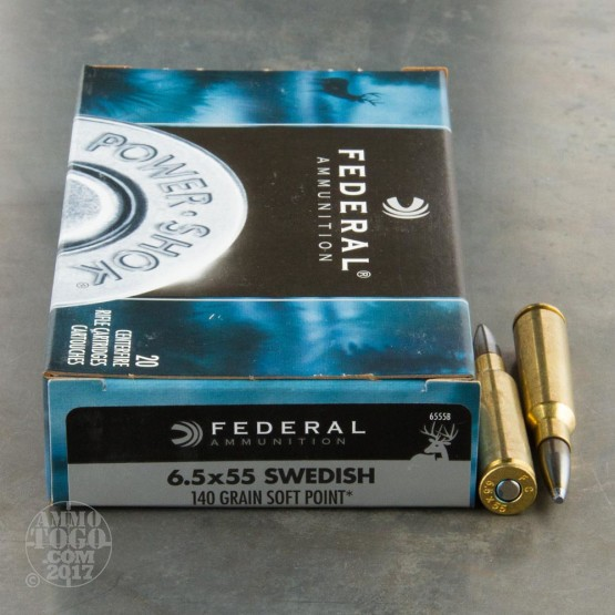 20rds - 6.5x55 Federal Power-Shok 140gr. Moly-Coated SP Ammo