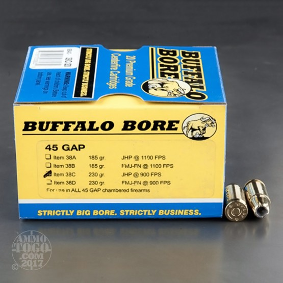 20rds - 45 GAP Buffalo Bore 230gr. JHP Ammo