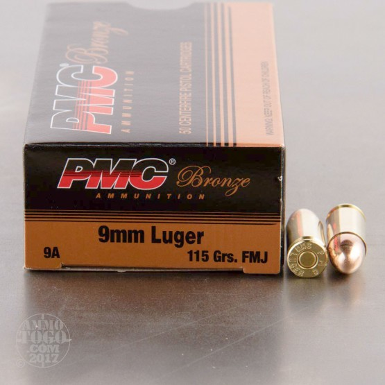 1000rds - 9mm PMC Bronze 115gr. FMJ Ammo