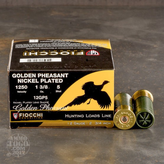 "25rds - 12 Gauge Fiocchi 2 3/4"" 1 3/8oz. #5 Shot Golden Pheasant Nickel Plated"