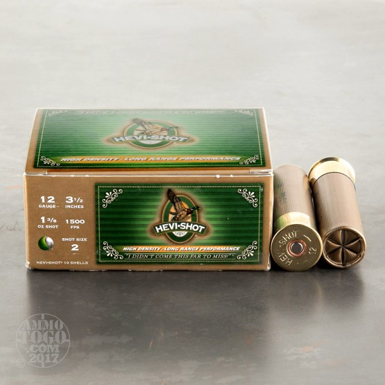"10rds - 12 Ga. Hevi-Shot 3 1/2"" 1 3/8oz. Waterfowl #2 Hevi-Metal Ammo"