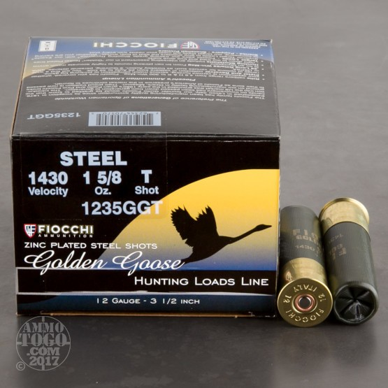 "25rds - 12 Ga. Fiocchi Golden Goose 3 1/2"" 1 5/8oz. #T Steel Shot"