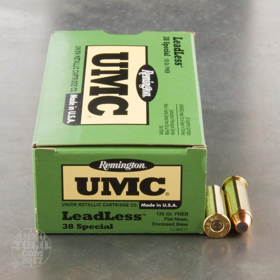 50rds - 38 Special Remington UMC 125gr. FNEB Leadless Ammo