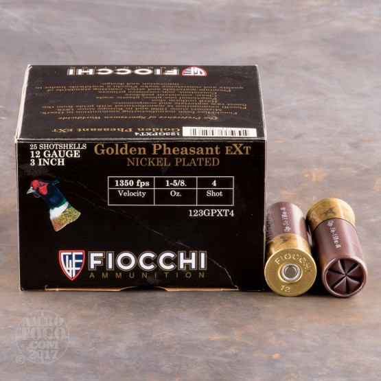 "25rds - 12 Gauge Fiocchi 3"" 1 5/8oz. #4 Shot Golden Pheasant EXT Nickel Plated"