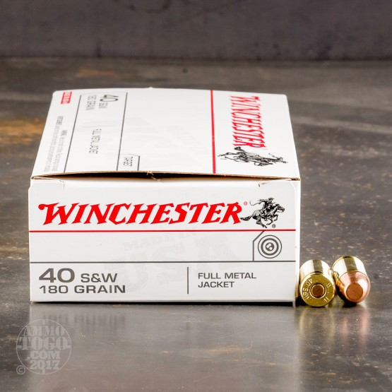 50rds - 40 S&W Winchester USA 180gr. FMJ Ammo