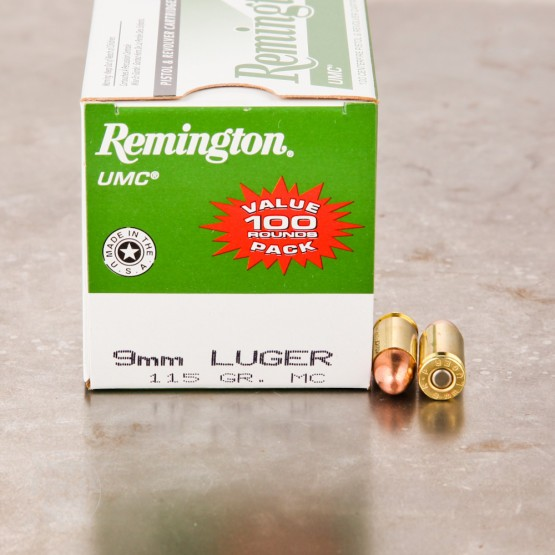 100rds - 9mm Remington UMC Value Pack 115gr. FMJ Ammo