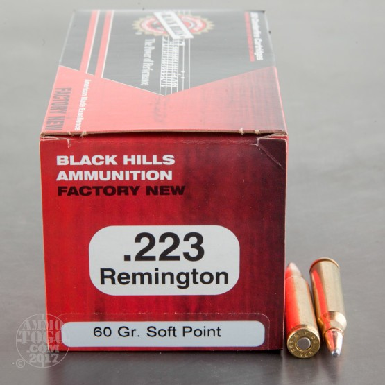 50rds - 223 Black Hills 60gr. Soft Point Ammo
