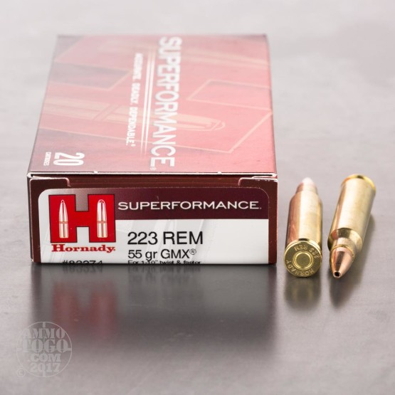 20rds - .223 Hornady Superformance 55gr. GMX Ammo