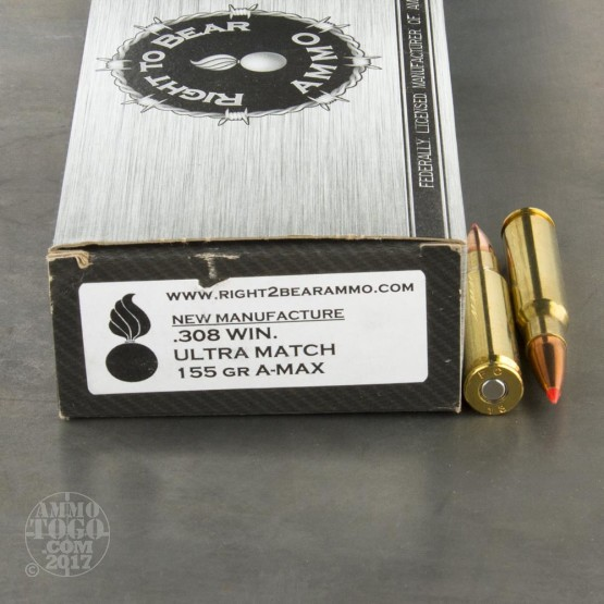 200rds - 308 Win. Right To Bear Ultra Match 155gr. A-MAX Ammo