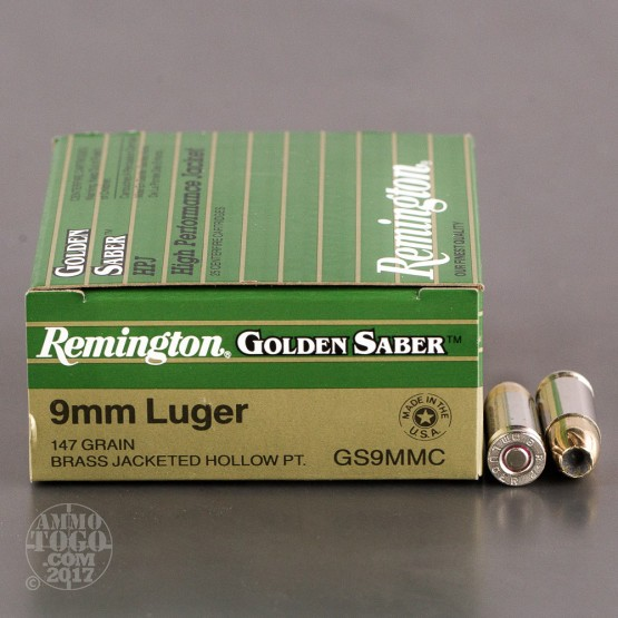25rds - 9mm Remington Golden Saber 147gr. HP Ammo