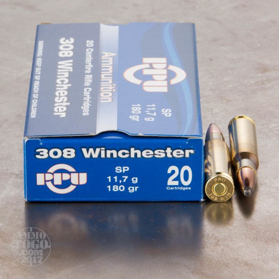 20rds - .308 Prvi Partizan 180gr. Soft Point Ammo