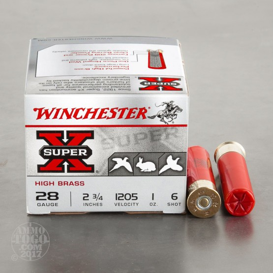 "25rds - 28 Gauge Winchester Super-X High Brass 2 3/4"" 1oz. #6 Shot Ammo"