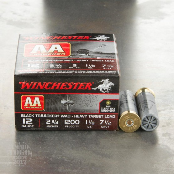 "25rds - 12 Gauge Heavy Target TrAAcker 2-3/4"" Black Hull 1-1/8 Ounce #7.5 Shot Ammo"