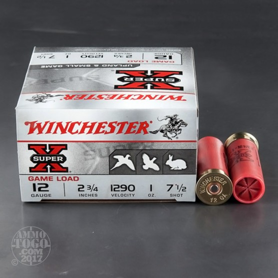"250rds - 12 Gauge Winchester Super-X Game Load 2 3/4"" #7 1/2 Shot Ammo"