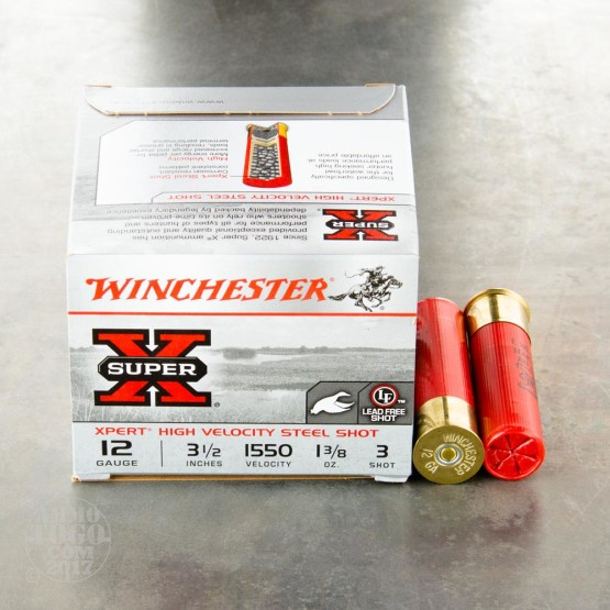 "25rds - 12 Gauge Winchester Super-X High Velocity 3-1/2"" 1-3/8 Oz. #3 Steel Shot Ammo"
