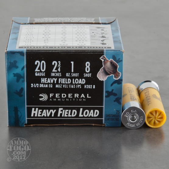 "250rds - 20 Gauge Federal Game Shok 2 3/4"" 1oz. #8 Shot Ammo"