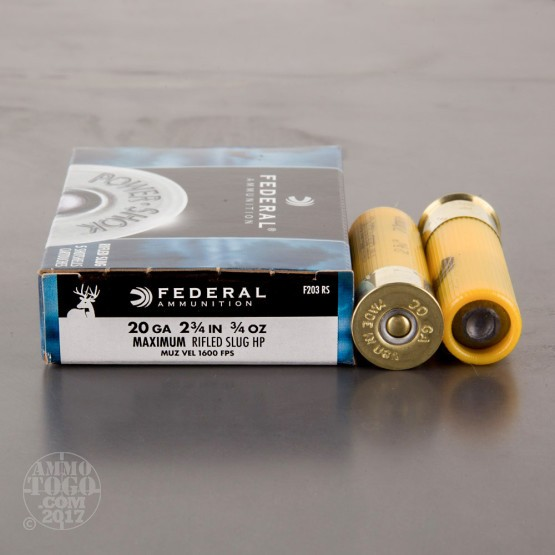 "250rds – 20 Gauge Federal Power Shok 2-3/4"" 3/4 oz. HP Rifled Slug Ammo"