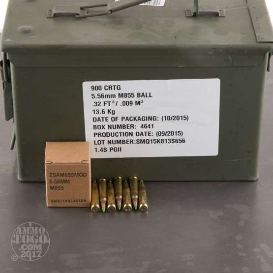 5.56x45mm - 62 Grain FMJ - M855 - Federal - 900 Rounds