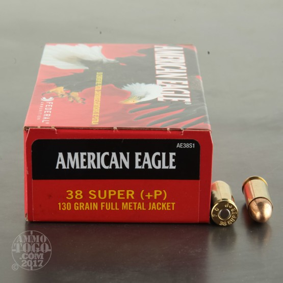 1000rds - 38 Super +P Federal American Eagle 130gr. FMJ Ammo
