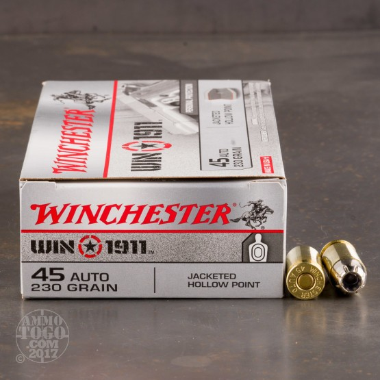 50rds - 45 ACP Winchester Win 1911 230gr. JHP Ammo
