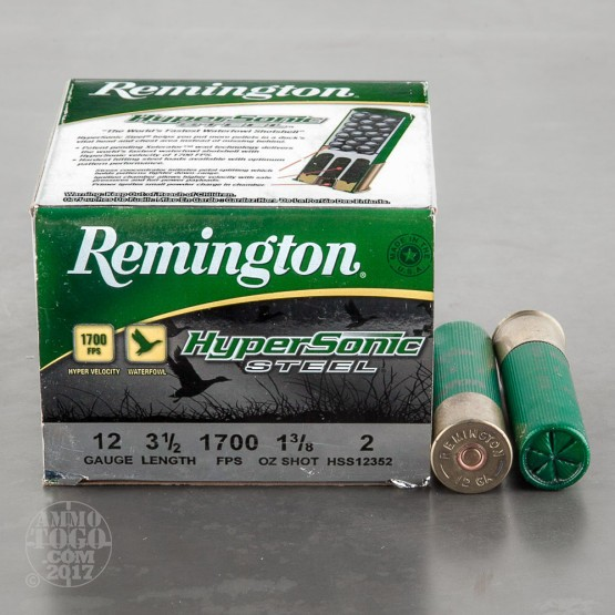 "25rds - 12 Ga. Remington HyperSonic 3 1/2"" 1 3/8oz #2 Non-Toxic Steel Shot Ammo"