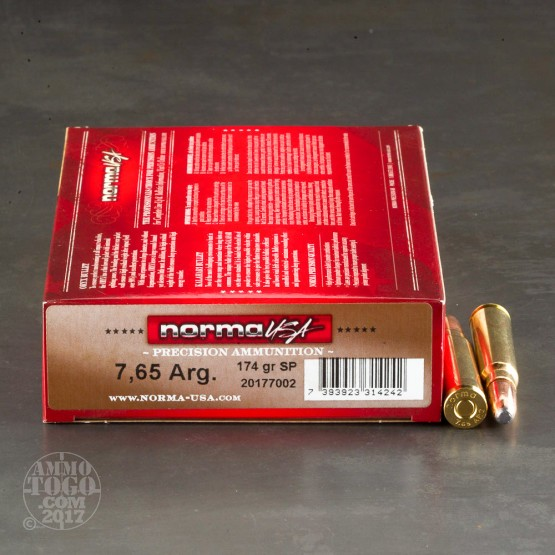 20rds - 7.65 Argentine Norma 174gr. Semi-Pointed Soft Point Ammo