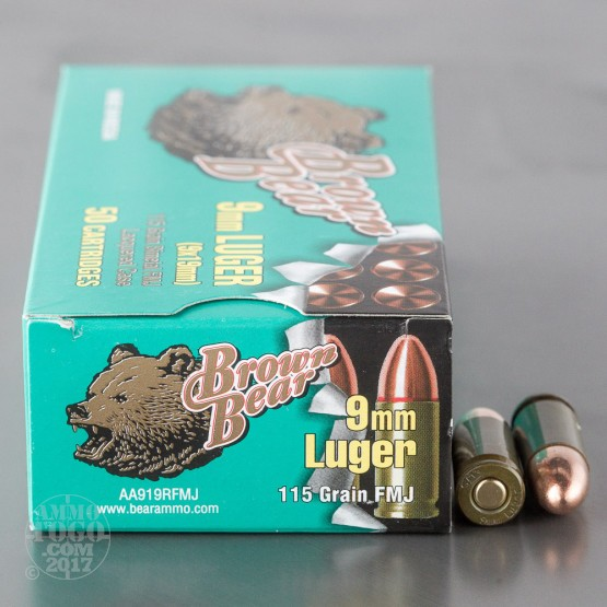 50rds - 9mm Brown Bear 115gr. FMJ Ammo