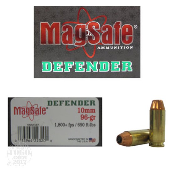 10rds - 10mm Magsafe 96gr. Defender Ammo