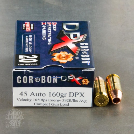 20rds - 45 ACP Corbon DPX 160gr. HP Ammo