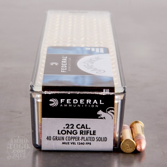 100rds - 22LR Federal Game Shok 40gr. HV Copper Plated Solid Point Ammo