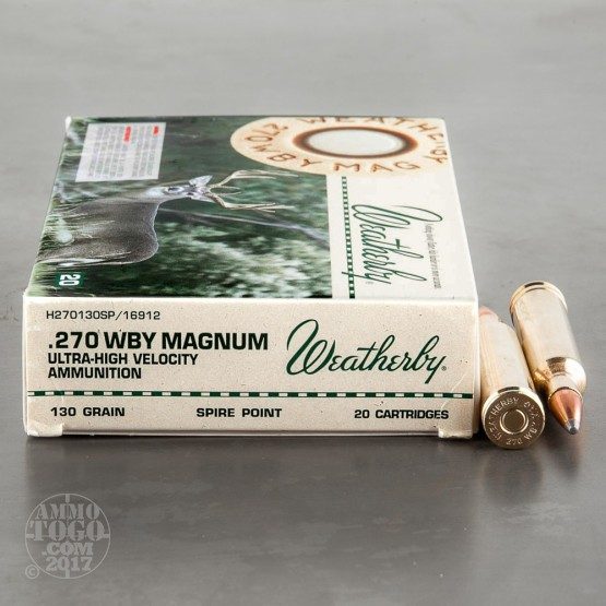 20rds - 270 Weatherby Mag. 130gr. Spire Point Ammo