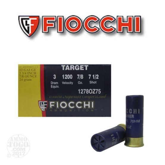 "250rds - 12 Gauge Fiocchi Low Recoil Target 2 3/4""  7/8oz. #7 1/2 Shot"