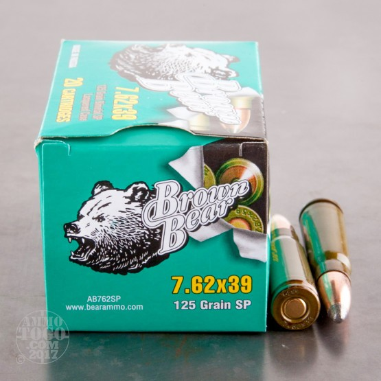 500rds - 7.62x39 Brown Bear 125gr. Lacquered Soft Point Ammo