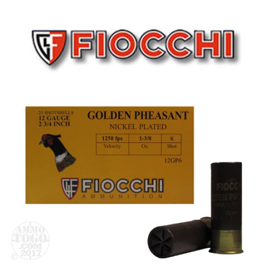 "250rds - 12 Gauge Fiocchi Golden Pheasant 2 3/4"" 1 3/8oz. #6 Shot Nickel Plated Ammo"