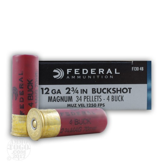 "5rds - 12 Ga. Federal Power-Shok 2 3/4"" 34 Pellet #4 Buckshot Ammo"