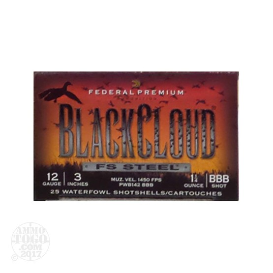"25rds - 12 Gauge Federal Blackcloud 3"" 1-1/4 oz. BBB Shot Ammo"