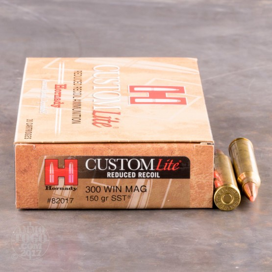 20rds - 300 Win Mag Hornady Custom Lite 150gr. SST Polymer Tip Reduced Recoil Ammo