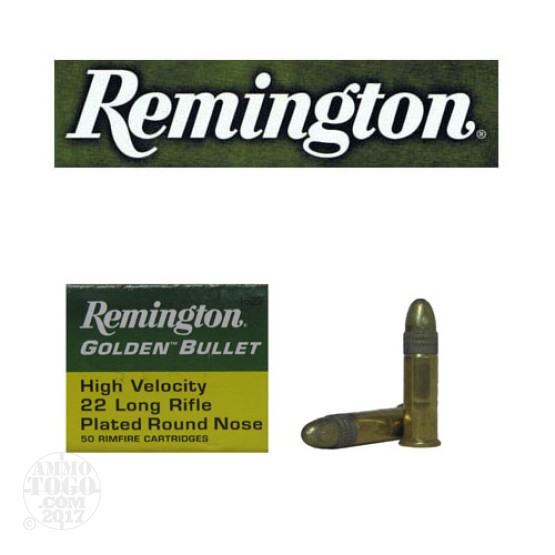 500rds - 22LR Remington Golden Bullet 40gr. Solid Point Ammo
