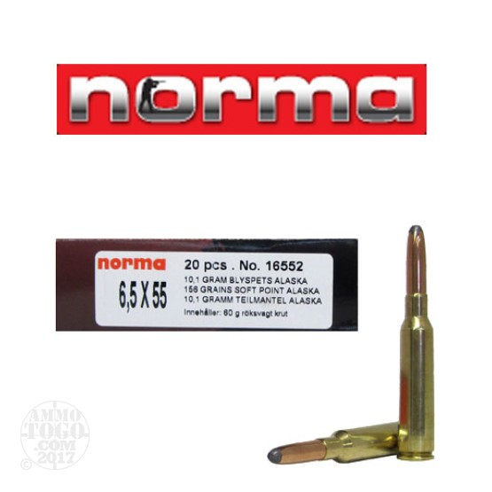20rds - 6.5x55 Norma 156gr. Alaska Soft Point Ammo