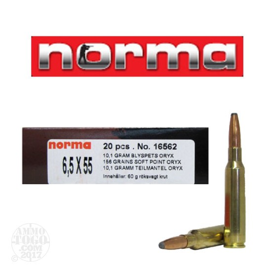 20rds - 6.5x55 Norma 156gr. Oryx Soft Point Ammo